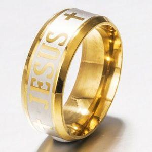 Jesus Christian Cross Religious Prayer Band Ring 8